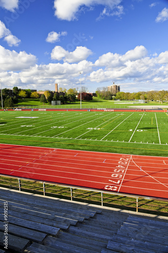 Wide angle view of public outdoor athletic stadium