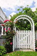 Biała altanka z czerwonym kwitnienie róż w ogrodzie