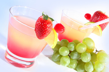 bright sweet coctails and fruits