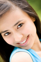 beautiful eyes of asian woman smiling sweet