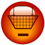 shopping basket with minus sign icon - remove from cart poster