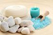 bath salt and soap - blue beauty treatment