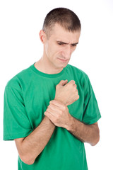 Man have pain in hand's joint, isolated on white background