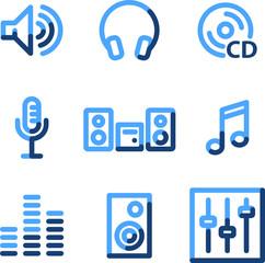 Sound icons, blue contour series