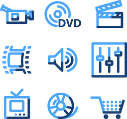 Video icons, blue contour series