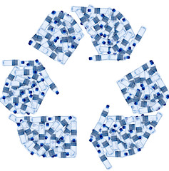 Recycling symbol made of water bottles