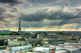 Paris roof tops view with Eiffel tower, HDR image poster