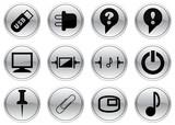 Gadget icons set. Black - gray palette. Vector illustration. poster