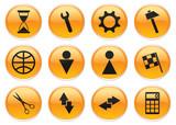 Gadget icons set. Orange - gray palette. Vector illustration. poster