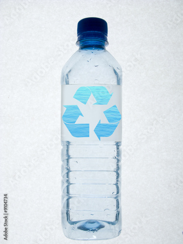 Water bottle with recycling symbol