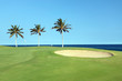 Golf Course on Lava Ocean Shore of Kona Island, Hawaii