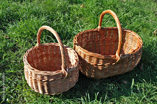 Empty baskets on a grass