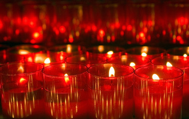 Lots of red candle lights decoration