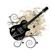 A beautiful swirly ornamental guitar illustration