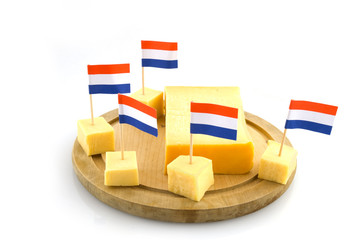 Dutch cheese in cubes with flags