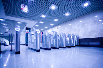turnstile and doors in Moscow subway