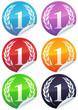 Stickers rond métal couronne de laurier (détouré)