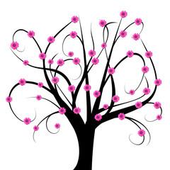 Arbre abstrait à fleurs roses