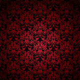 Red and black floral inspired background that seamlessly tiles poster