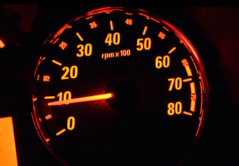 Close up of car tachometer