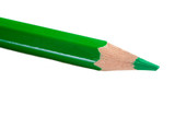 A green pencil expanded very sharp on a white background poster