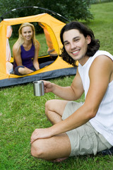 Couple camping