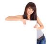 Beautiful woman holding empty white board