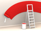 Fototapety Ladder, roller brush, bucket. Space for text. 3d