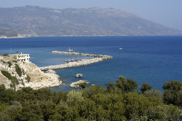 The port of Ormos Marathokambo at Samos island, greece