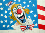 Painting of Uncle Sam on American Stars and Stripes flag. poster