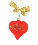 Red Christmas love heart decoration with gold glitter lettering. poster