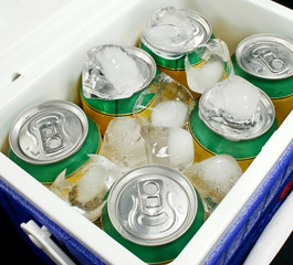 Drink cans covered in ice in a drinks cooler.