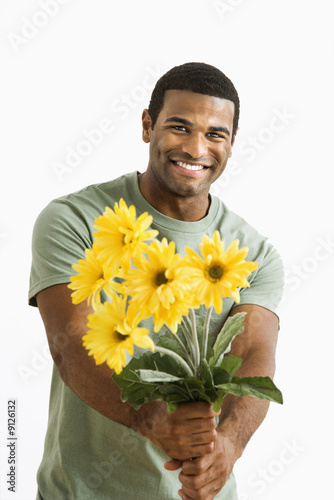 Man with bouquet.