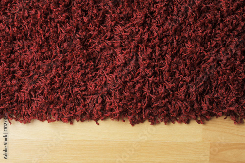 poster of Red fluffy rug on laminate floor