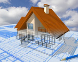 Isometric view the residential house on architect's drawing. poster