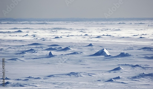 Leinwandbild Motiv Endless Antarctic snowfields beyond horizons