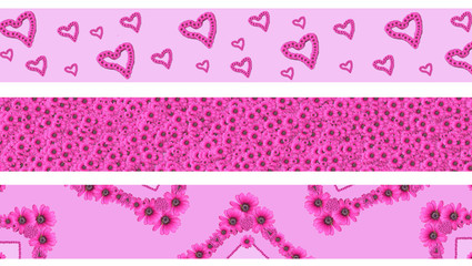 Pink Floral Borders collection