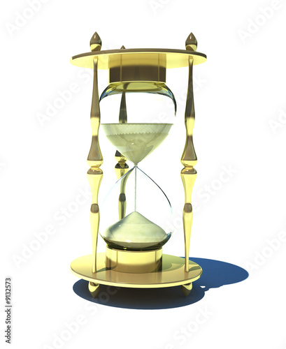 3D Render of Golden Hourglass Isolated on White