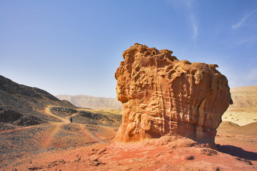 Freakish figures from red sandstone in desert Arava in Israel