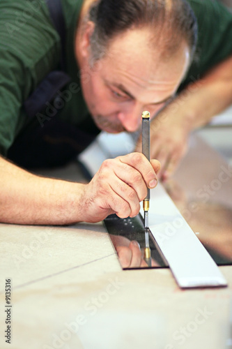 The worker,focus on a hand