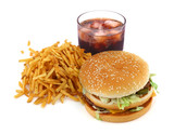 french fries, hamburger and cola on white background