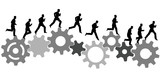 business man in a hurry runs on industrial machine gears poster