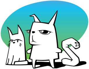 illustration of cat, rabbit and worm on background