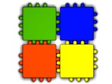 Four colored connected puzzles over white