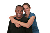 Happy Smiling Multiracial Couple on White Background poster