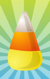 Candy corn sweet confection, illustration on radial burst poster