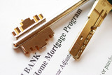 Mortgage application & keys. Shallow depth of field. poster