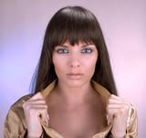 Beautiful brunet posing, studio shut poster