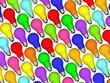 Diagonal lightbulbs background of rainbow colours on white