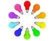 Lightbulbs kaleidoscope of rainbow colours isolated on white